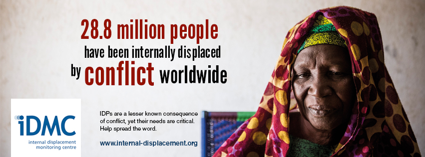 internally displaced people More than 25 million people in some 40 countries have been forcibly displaced within their own countries by violent conflict or environmental disasters.
