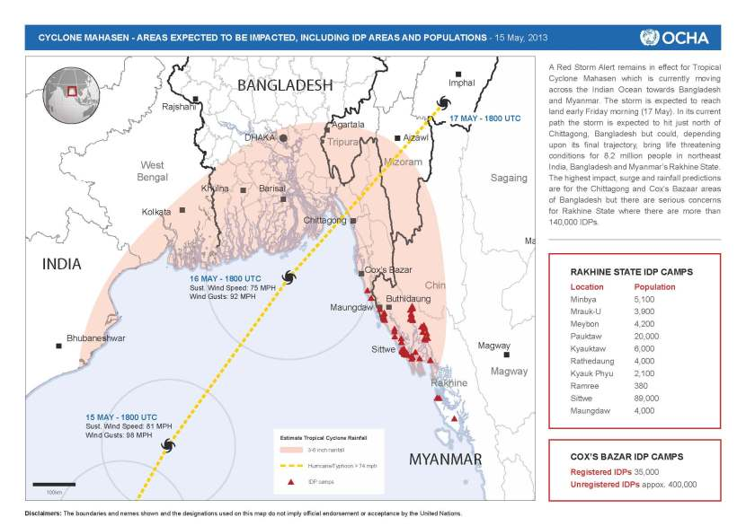 Projected path of the Cyclone and IDP settlements in Myanmar likely to be affected. Credit: OCHA
